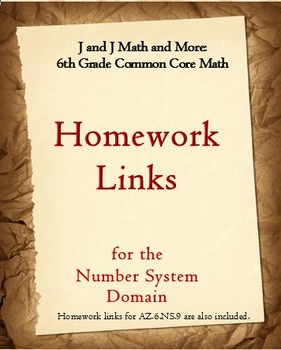 6th Grade Math: 6.NS.1-6.NS.8: Internet Links to Free Number System Homework