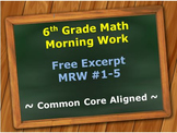 6th Grade Common Core Math Morning Work (Math Review Works