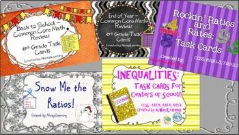 Math Task Cards Bundle For Sixth Grade!