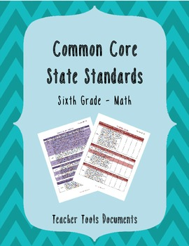 Sixth Grade Common Core Math Teacher Documents