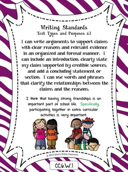 Common Core Posters Full Page (6th Grade) - ELA ONLY