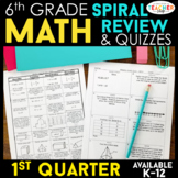 6th Grade Math Review | Homework or Warm Ups | 1st Quarter