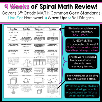 6th Grade Math Review | Homework or Warm Ups | 2nd Quarter | TpT