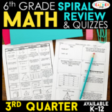 6th Grade Math Review | Homework or Warm Ups | 3rd Quarter