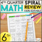 6th Grade Math Review | Homework or Warm Ups | 4th Quarter