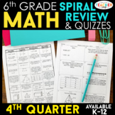 6th Grade Math Review | Homework or Warm Ups | 4th Quarter