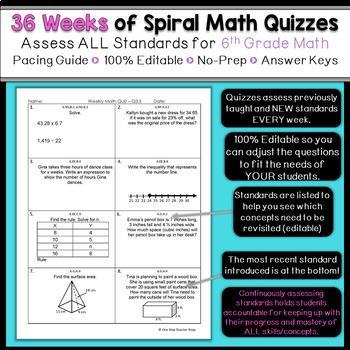 6th Grade Math Homework 6th Grade Math Warm Ups 6th Grade Spiral Math Review