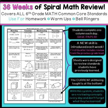 6th Grade Math Spiral Review | Homework, Warm Ups, Daily Math Review