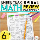 6th Grade Math Spiral Review   6th Grade Math Homework   BUNDLE