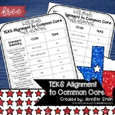 FREEBIE Sixth Grade TEKS to CCSS Math Standards Crosswalk