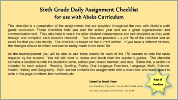 Sixth Grade Daily Assignment Checklist for use with Abeka Curriculum