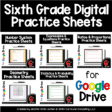 Sixth Grade Digital Practice Sheets Google Forms for Dista