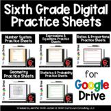 Sixth Grade Digital Practice Sheets Google Forms for Dista