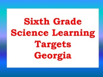 Sixth Grade Earth Science Learning Targets (Georgia)
