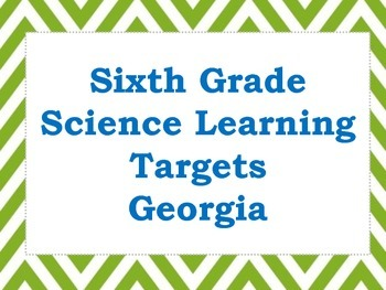 Sixth Grade Earth Science Learning Targets (Georgia)
