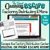 6th Grade Math Escape Room for Factoring, Distributing & O