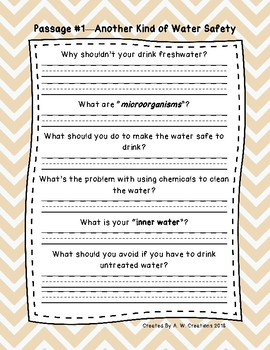Sixth Grade Fluency and Comprehension Passages FREEBIE DORF