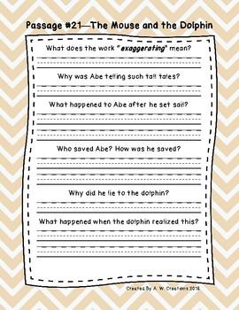 Sixth Grade Fluency and Comprehension Passages Set C (Passages 21-29) DORF