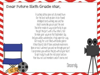 Sixth Grade HOLLYWOOD THEMED Welcome Letter