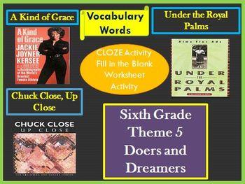 Houghton Mifflin Reading 6th Grade Theme 5 Cloze Worksheets