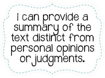 "Sixth Grade ""I Can"" Statements LAFS & Common Core Reading Plain"