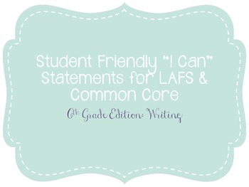 "Sixth Grade ""I Can"" Statements LAFS & Common Core Writing Plain"