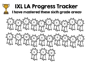 Sixth Grade IXL Language Arts Tracker