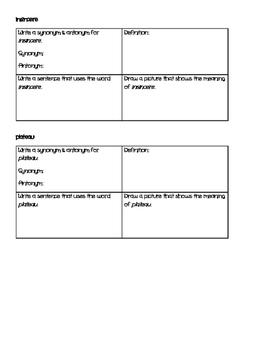 Sixth Grade Language Arts Vocabulary - Month Five
