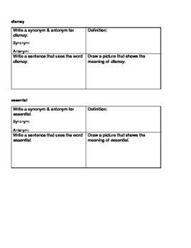 Sixth Grade Language Arts Vocabulary - Month One