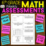 6th Grade Math Assessments or Quizzes for the ENTIRE YEAR 100% EDITABLE