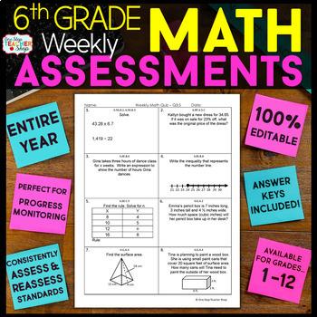 6th Grade Math Assessments   6th Grade Math Quizzes EDITABLE