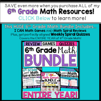 6th Grade Math Assessments 6th Grade Math Quizzes {Spiral Review} FREE