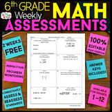 6th Grade Math Assessments or Quizzes FREE