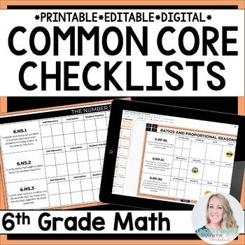6th Grade Math Common Core Standards Checklists