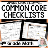 6th Grade Math Common Core Standards Checklists