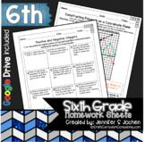Sixth Grade Math Homework Printable & Digital Learning