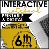 6th Grade Math Interactive Notebook Bundle   Distance Learning