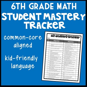 Sixth Grade Math Student Mastery Tracker, Common Core Aligned Self-Tracker
