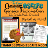 Sixth Grade Math Thanksgiving Escape Room- Digital and Pri
