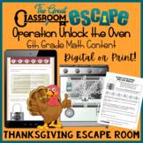 6th Grade Math Thanksgiving Escape Room- Digital and Print