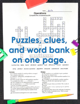 Math Worksheets - 6th Grade Math Vocabulary Crossword Puzzles