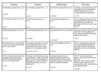 Sixth Grade Math Weekly Warm Up (Decimals) & Key