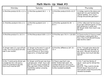 Sixth Grade Math Weekly Warm Up (Decimals) & Key