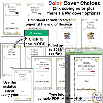 6th Grade Memory Book in BW and Color with Lots of Page Options