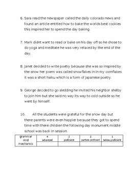 Language Arts Pre Assessment | Post Assessment | Homework | Worksheets| Handout