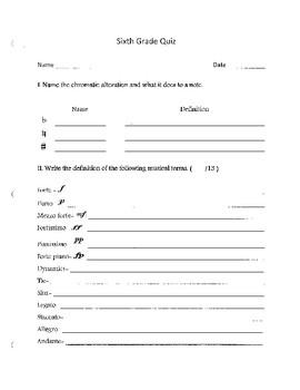 Sixth Grade Quiz