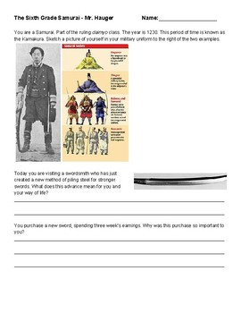 Sixth Grade Samurai First Person Worksheet Japanese Bushido Code Scenario