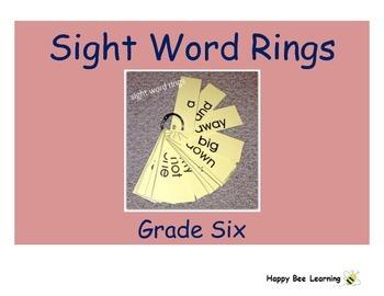 Sixth Grade Sight Word Rings