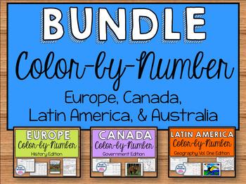 Sixth Grade Social Studies Color-by-Number Bundle