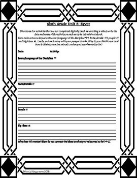 Sixth Grade Social Studies Mini Notebook (editable)